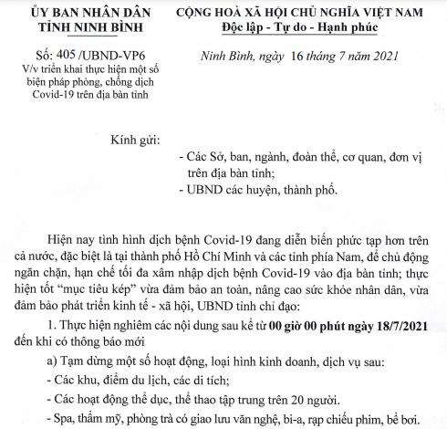 Ninh Bình: triển khai thực hiện một số biện pháp phòng, chống dịch Covid-19 trên địa bàn tỉnh